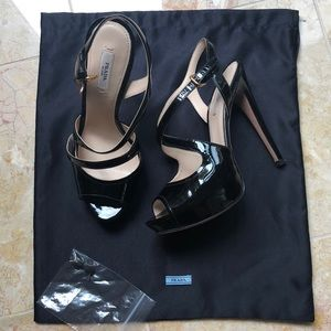 Prada, Black, Patent Leather, High Heeled Sandals
